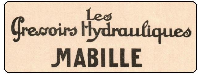 """Publicité Pressoirs Hydrauliques / """"Hydrélastic Mabille"""" – Années 1920-1930"""